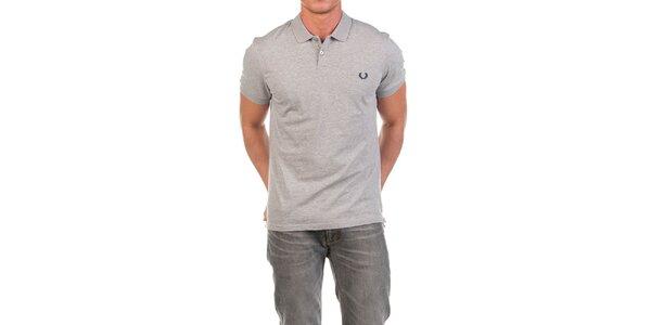 Pánské šedé polo triko s výšivkou Fred Perry
