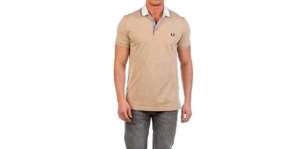 Pánské béžové polo triko s bílým límečkem Fred Perry