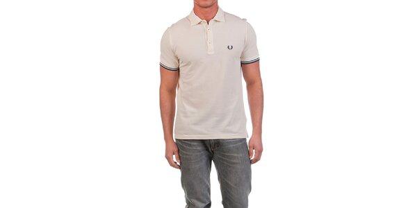 Pánské krémově bílé polo triko s modrými prvky Fred Perry
