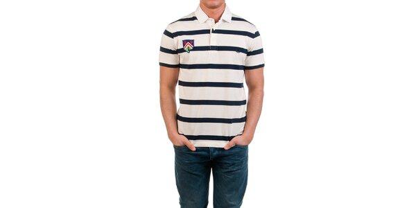 Pánské pruhované polo triko s barevnou nášivkou Fred Perry