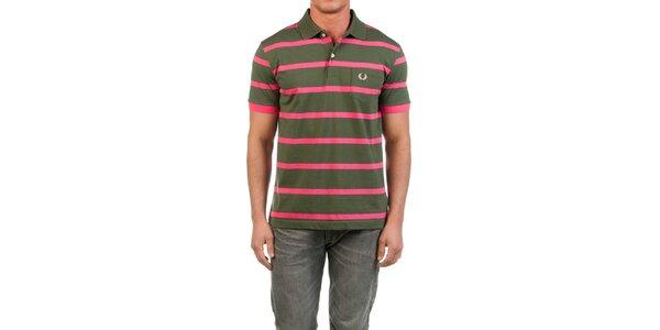 Pánské zelené polo triko s růžovými proužky Fred Perry