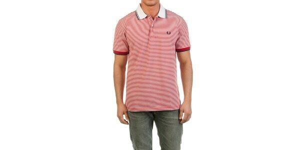 Pánské červeně proužkované polo tričko Fred Perry