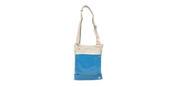 Menší sportovní kabelka značky Doca v šedé a modré kombinaci barev