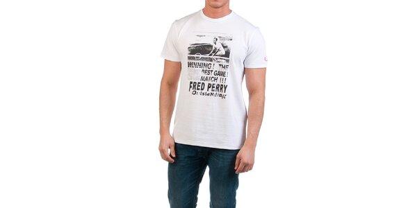 Pánské bílé tričko s potiskem Fred Perry