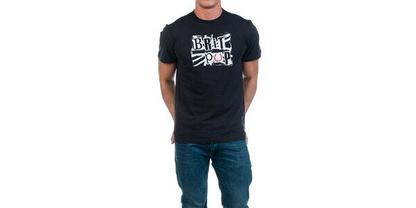 Pánské černé tričko s potiskem Fred Perry
