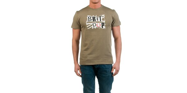 Pánské khaki tričko s potiskem Fred Perry