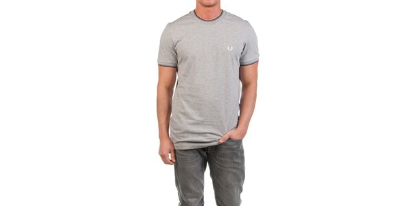 Pánské šedě melírované tričko Fred Perry