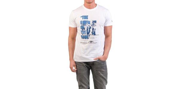 Pánské bílé tričko s modrým potiskem Fred Perry