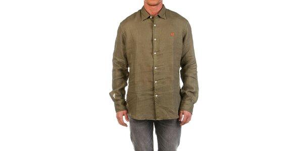 Pánská lněná khaki košile Fred Perry