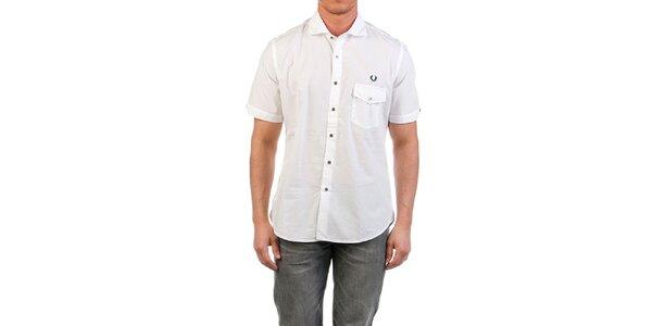 Pánská bílá košile s krátkým rukávem a kapsičkou Fred Perry