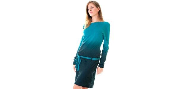 Dámské tyrkysové šaty s páskem Goa Goa