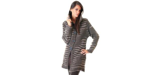 Dámský hnědý mohérový pletený kabátek Goa Goa