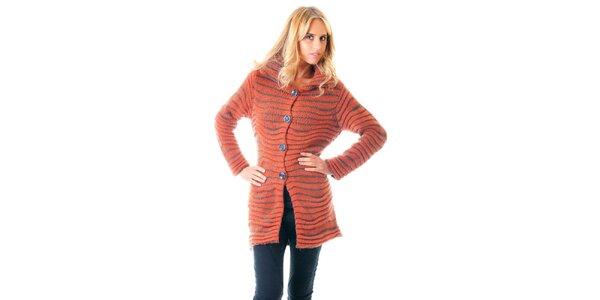 Dámský oranžový mohérový pletený kabátek Goa Goa