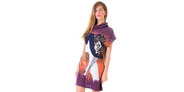 Dámské fialové šaty s potiskem Goa Goa
