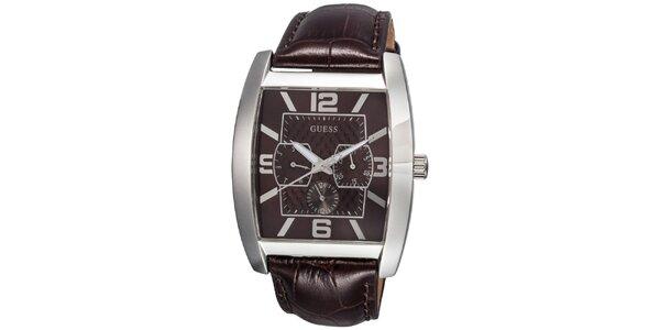 Pánské ocelové hodinky s tmavě hnědým řemínkem Guess