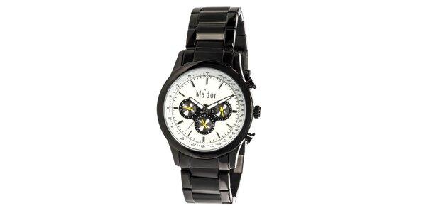 Pánské černé sportovní hodinky s bílým ciferníkem Ma´dor