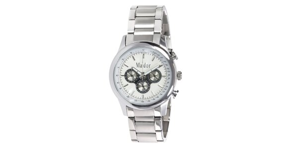 Pánské sportovní hodinky s bílým ciferníkem Ma´dor