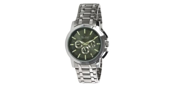 Pánské sportovní hodinky s olivovým ciferníkem Ma´dor