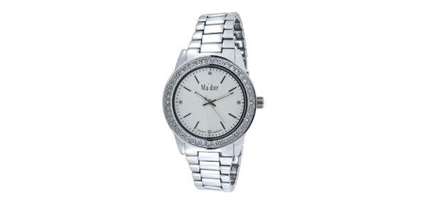 Dámské kulaté hodinky s bílým ciferníkem Ma´dor