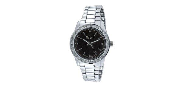 Dámské kulaté hodinky s černým ciferníkem Ma´dor