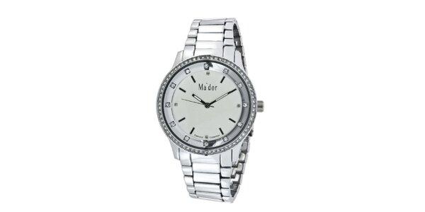Dámské kulaté elegantní hodinky s bílým ciferníkem Ma´dor
