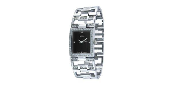Dámské náramkové hodinky s hranatým černým ciferníkem Ma´dor