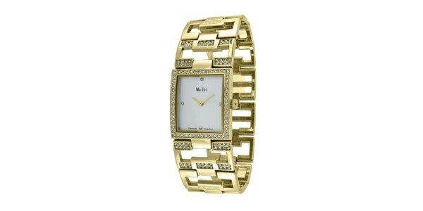 Dámské náramkové hodinky s hranatým ciferníkem Ma´dor ve zlaté barvě
