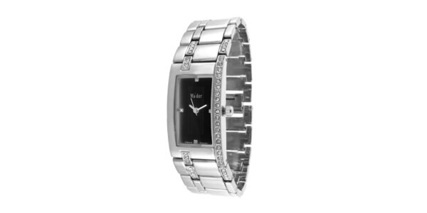 Dámské náramkové hodinky s obdélníkovým černým ciferníkem Ma´dor
