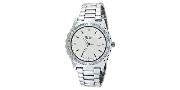Dámské hodinky s kulatým bílým ciferníkem Ma´dor