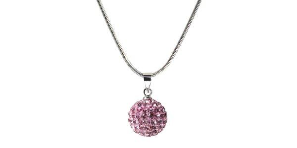 Dámský náhrdelník s kulatým růžovým přívěskem Ma´dor