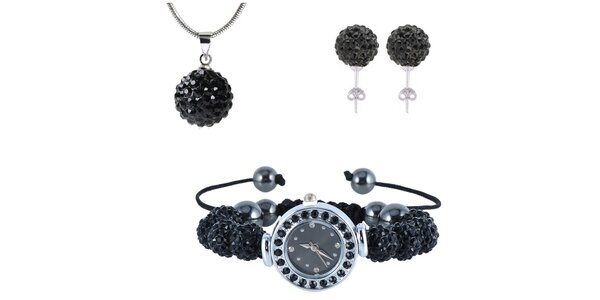 Dámský set hodinek, náušnic a náhrdelníku s černými zirkony Ma´dor