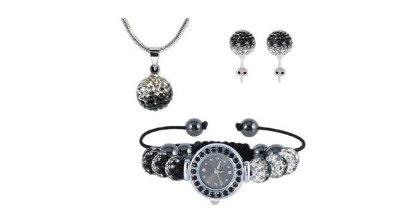 Dámský set hodinek, náušnic a náhrdelníku s černo-bílými zirkony Ma´dor