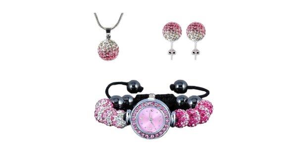 Dámský set hodinek, náušnic a náhrdelníku s růžovými zirkony Ma´dor