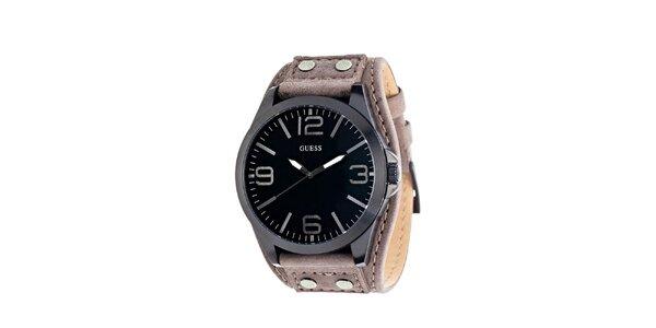 Pánské kulaté ocelové hodinky s tmavým ciferníkem Guess