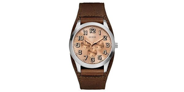 Pánské ocelové hodinky s koženým hnědým řemínkem Guess