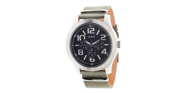 Pánské sportovní ocelové hodinky s textilním řemínkem Guess