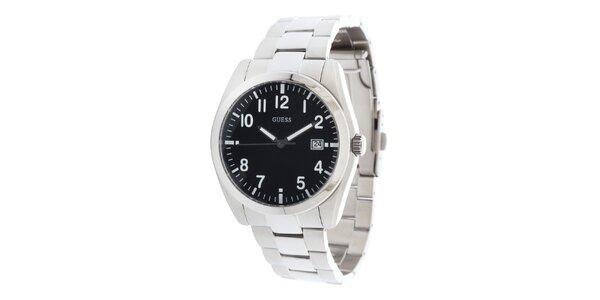 Pánské sportovní ocelové hodinky s černým kulatým ciferníkem Guess