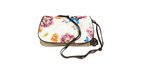 Béžová taška přes rameno značky Doca s květinovým motivem