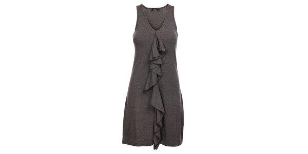 Dámské šedé melírované šaty Velvet Kitten s kanýrem