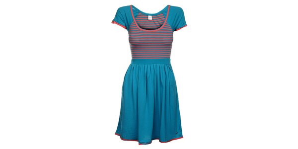Dámské modro-růžové proužkované šaty Pussy Deluxe