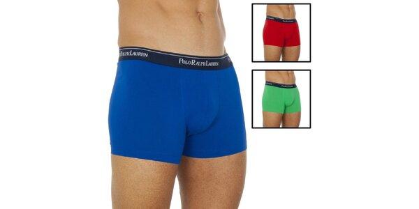 Pánský set tří boxerek - modré, zelené, červené Ralph Lauren