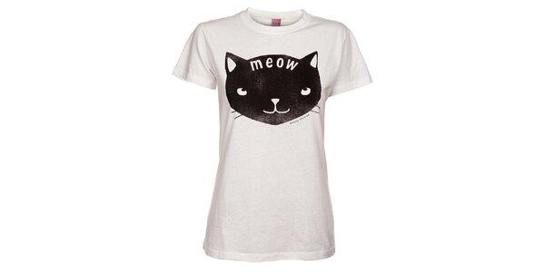 Dámské bílé tričko Pussy Deluxe s kočkou