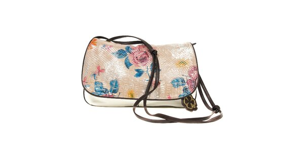 Bílá taška přes rameno značky Doca s květinovým motivem