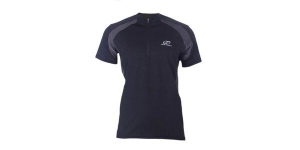 Pánské černo-šedé sportovní tričko se zipem Hannah