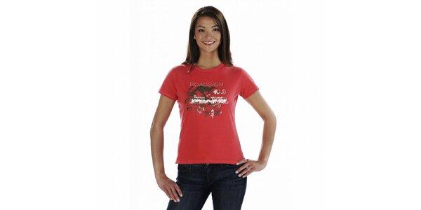 Dámské červené tričko Roadsign Australia s potiskem