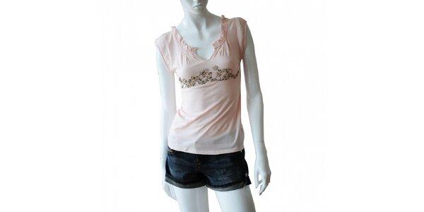 Dámské světle růžové tričko Nolita s kovovými kroužky a korálky