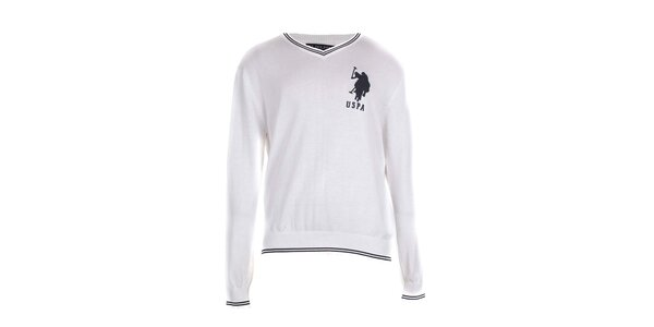 Pánský bílý svetr U.S. Polo