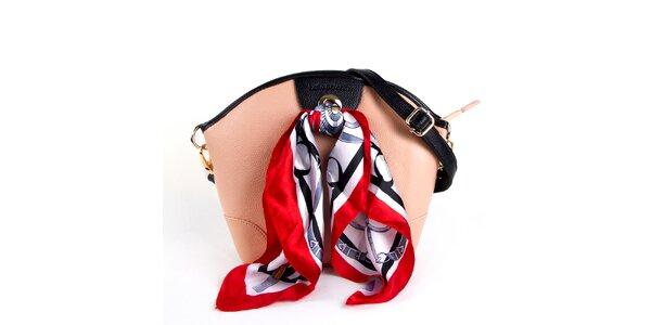 Dámská pudrová kožená kabelka s šátkem Belle & Bloom