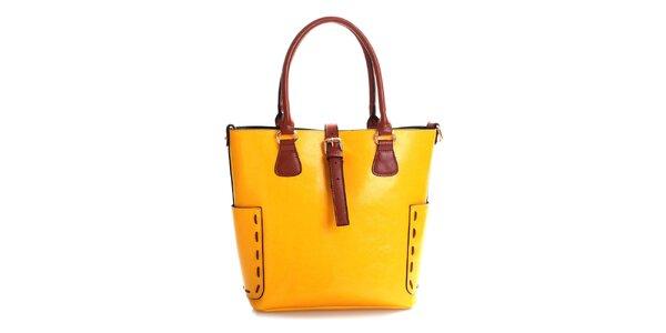 Dámská hořčicová kabelka z pravé kůže Belle & Bloom