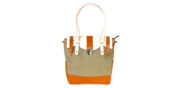 Dámská khaki kabelka s oranžovo-bílými detaily Belle&Bloom